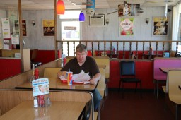 Jim enjoying his sandwich. Cando, ND