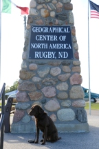 Emma at the Geographical Center of North America in Rugby, ND