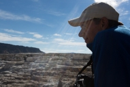 Tom looking out over one of the travertine terraces at Yellowstone National Park