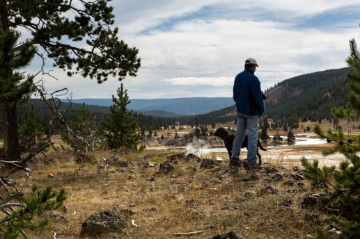 Tom looks over one of the rivers and steam vents in Yellowstone National Park