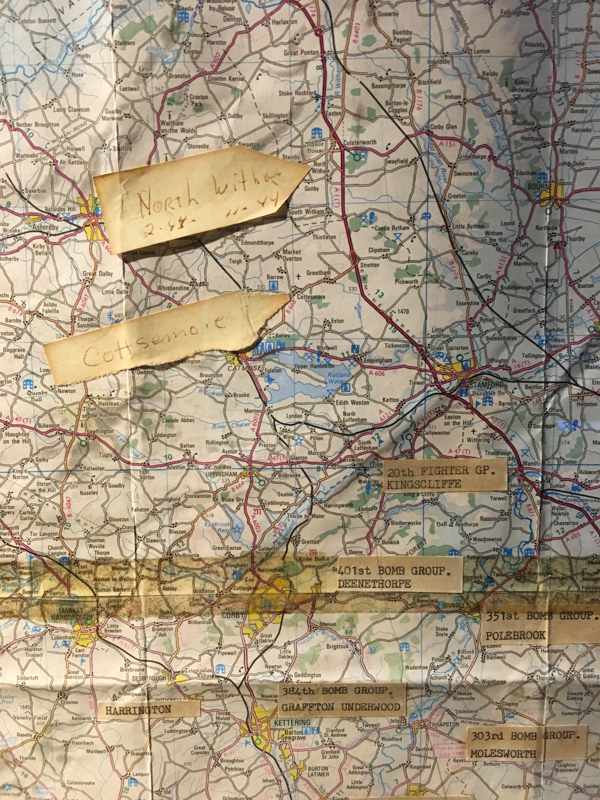 A portion of a map showing all the US air bases in England during WWII on display at the Museum of Aviation, Warner Robins, GA. / ©2016 Audrey Horn Photo / www.usathroughoureyes.com