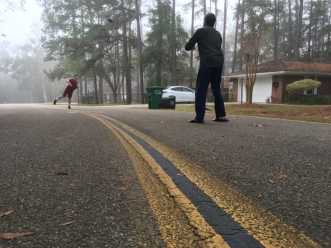 Nile and Tom toss the football in the misty morning, Tallahassee, FL. / ©2016 Audrey Horn Photo / www.usathroughoureyes.com