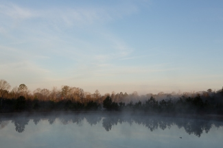 Mist rising over the pond at dawn at Deer Run RV Park just north of Troy, AL. www.usathroughoureyes.com