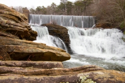 DeSoto Falls is one of the tallest and most visited waterfalls in Alabama; Named for Spanish explorer Hernando De Soto, the 107 foot waterfall is part of DeSoto State Park on Lookout Mountain.