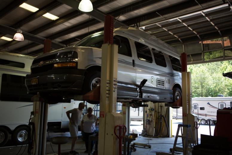 Van repairs at Carolina Coach and Marine, Claremont, North Carolina. www.usathroughoureyes.com